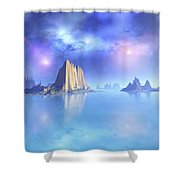 Beautiful Night Scene Of The Ocean Shower Curtain