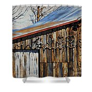 Beautiful Old Barn With Horns Shower Curtain