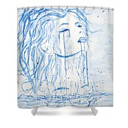 Beautiful Sea Woman Watercolor Painting Shower Curtain by Georgeta  Blanaru