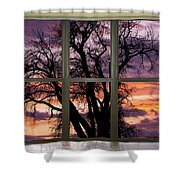 Beautiful Sunset Bay Window View Shower Curtain