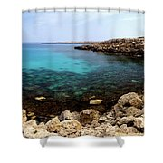 Beautiful View On Mediterranean Sea Cape Gkreko In Cyprus Shower Curtain