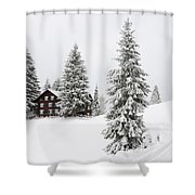 Beautiful Winter Landscape With Trees And House Shower Curtain