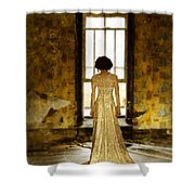 Beautiful Woman In Lace Gown In Abandoned Room Shower Curtain