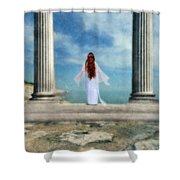 Beautiful Woman In White Shower Curtain