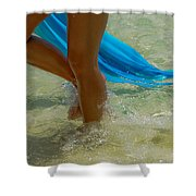 Beautiful Woman Legs In The Crystal Water Shower Curtain