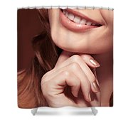 Beautiful Young Smiling Woman Mouth Shower Curtain