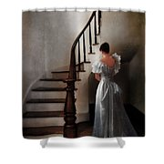Beautiful Young Woman Standing In Gown By Stairs Shower Curtain