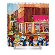 Beauty's Restaurant-montreal Street Scene Painting-hockey Game-hockeyart Shower Curtain