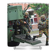 Belgian Infantry Soldiers Exit Shower Curtain