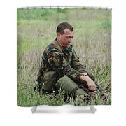 Belgian Paratroopers Red Berets Shower Curtain