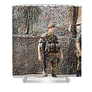 Belgian Soldier On Guard Shower Curtain
