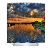 Sunset At Belle Isle Pier Detroit Mi Shower Curtain