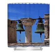 Bells Of Santorini Greece Shower Curtain