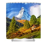 Below The Matterhorn Shower Curtain
