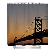 Ben Franklin Bridge Sunrise Shower Curtain