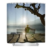 Bench And Sunset Shower Curtain