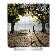 Bench And Trees On The Lake Front Shower Curtain