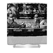 Bench Bums In Black And White Shower Curtain