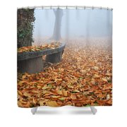 Bench In The Fog Shower Curtain