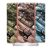 Bench In The Park Triptych  Shower Curtain by Susanne Van Hulst