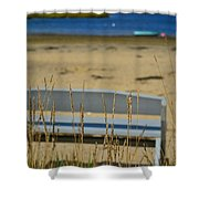 Bench On The Beach Shower Curtain