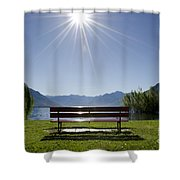 Bench On The Lakefront Shower Curtain