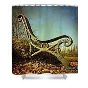 Bench. Vintage Look. Shower Curtain