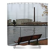 Bench With Industrial View Shower Curtain