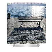 Bench With Shadow Shower Curtain