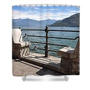 Benches On The Lake Front Shower Curtain