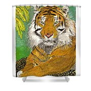 Bengal Tiger With Green Eyes Shower Curtain by Jack Pumphrey