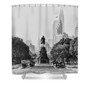 Benjamin Franklin Parkway In Black And White Shower Curtain by Bill Cannon