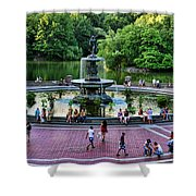 Bethesda Fountain Overlooking Central Park Pond Shower Curtain by Paul Ward