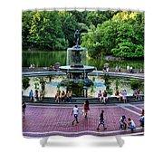 Bethesda Fountain Overlooking Central Park Pond Shower Curtain