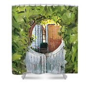 Beyond The Gate - A Scene From Mackinac Island Michigan Shower Curtain