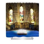 Bible In Church Shower Curtain