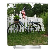 Bicycle And Picket Fence Shower Curtain