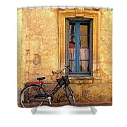 Bicycle And Window In France Shower Curtain