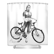 Bicycle Girl Shower Curtain