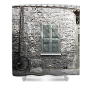 Bicycle Leaning Against A Stone House Shower Curtain