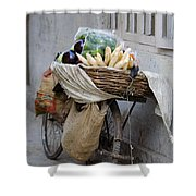 Bicycle Loaded With Food, Delhi, India Shower Curtain