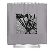 Bicycle Shadows In Black And White Shower Curtain