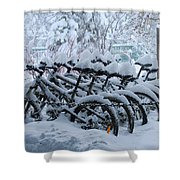 Bicycles In The Snow Shower Curtain