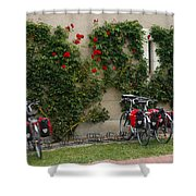 Bicycles Parked By The Wall Shower Curtain