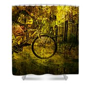 Bicyclist On The Move No. Ol4 Shower Curtain