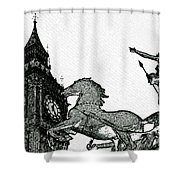 Big Ben And Boudica Charcoal Sketch Effect Image Shower Curtain