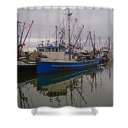 Big Blue Fishing Boat Shower Curtain