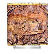 Big Mouth Bass Carving Shower Curtain