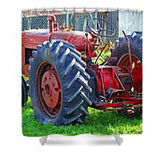 Big Red Rubber Tire Tractor Shower Curtain