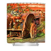 Big Red Tractor Shower Curtain